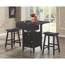 coaster 3piece bar table set with wine rack storage espresso wine rack bar table28 wine