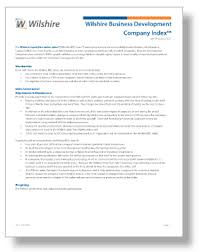 Business Development Company Wilshire Analytics Indexes Wilshire Business Development