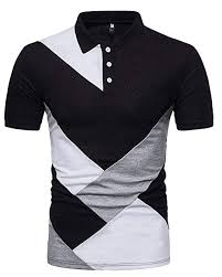 Mens Casual Polo Shirts Patchwork Tops Cotton Modern Blouse Essentials Clothing