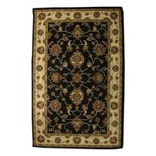 wool area rug persian fl magnificence 5x8 black ivory and