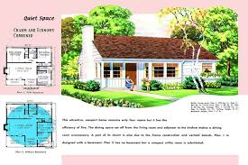 1950s floor plan and rendering of minimal traditional modern style house called quiet space