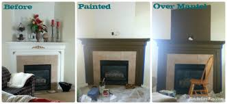 was painted we turned our attention to the tile to update it she used black paint to color the grout and brick right around the actual fireplace