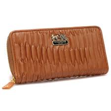 Coach Accordion Zip In Gathered Twist Large Brown Wallets 22753