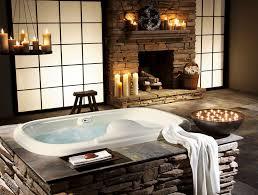 stone batrhroom design with fireplace