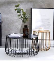 wire coffee table. Image Is Loading New-Modern-Black-amp-Gold-Round-Industrial-Steel- Wire Coffee Table