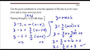 write the equation of line that p through point 42 slope form maxresde slope point form