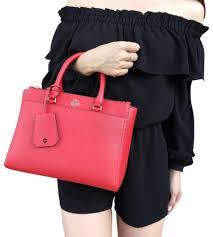 tory burch robinson double zip satchel cross tote in orange red image 0
