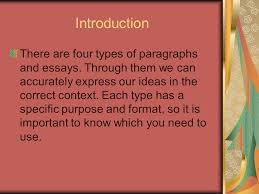 paragraph essay types index expository description narration  introduction there are four types of paragraphs and essays