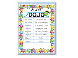 Teacher Reward Chart Class Dojo Behaviour Reward Chart