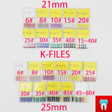 <b>6 pcs</b>/<b>pack Dental K</b> Files Root Canal 21&25mm 6# 10# 40 ...