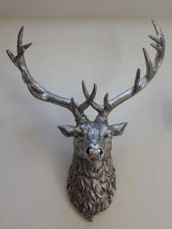 large silver stag wall art animal head stag head large wall mounted deer head