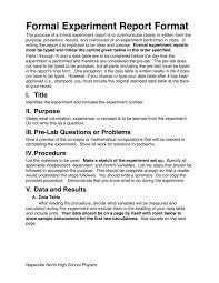 Formal Experiment Report Format Naperville Community Unit