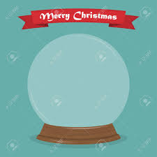Snow Globe Design Empty Snow Globe In A Flat Design With Ribbon Merry Christmas
