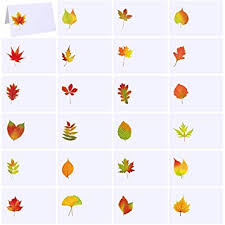 Fall Place Cards Supla 120 Pcs Fall Wedding Place Cards Escort Cards With Assorted Fall Leaves Tented Place Cards Name Cards Guest Seating Cards Buffet Cards For