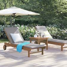 brown brighton gray cushion patio 3 piece single reclining chaise lounge set with table