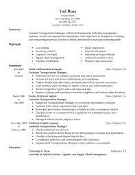 transportation manager resume