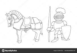 Kleurplaat Van Cartoon Middeleeuwse Ridder Klaarmaken Voor Ridder