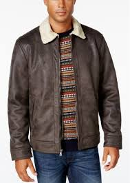 men s big tall jacket with faux shearling collar