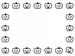 ハロウィンのかぼちゃの白黒囲みフレーム飾り枠イラスト 無料イラスト