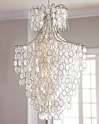hand crafted capiz shell chandelier 2 lights silver classic elegance 29 dia