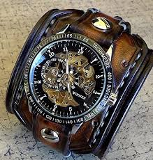 steampunk leather wrist watch skeleton men s watch aged brown steampunk leather wrist watch skeleton men s watch aged brown leather cuff bracelet watch watch cuff explore the world of steampunk