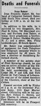 Ivan Franklin Baker 1954 Obbitury - Newspapers.com