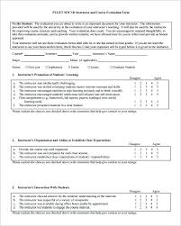 Course Evaluation Templates Stunning Sample Course Evaluation Form ...