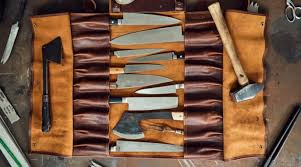 it comes in a full grain vegetable tanned leather that is durable and elegant and it is functional with space for 18 knives and eight additional pieces of