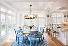 inspiration for a beach style light wood floor kitchen dining room combo remodel in boston