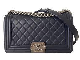 chanel boy medium handbags leather blue ref 59194