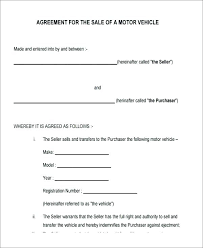Vehicle Sales Agreement Template Creative Contemporary