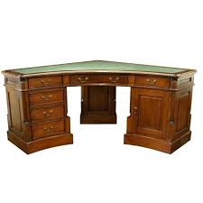 gany corner desk with three pedestals and curved front