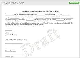 Sample Letter Of Consent To Travel Notarized Letter Of Consent When Traveling With A Minor