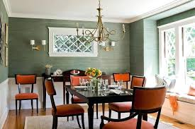 dark sage color dark sage green wall color with rust colored chairs using brass chandelier for
