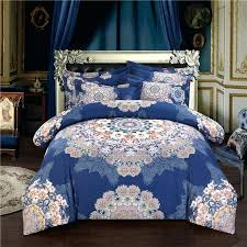 boho bohemian designer royal blue bedding sets king queen size quilt duvet cover cotton bed sheet