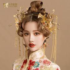 Chinois Coiffure Coiffure Costume Or Papillon En épingle à Cheveux Mariage Couronne Et Boucle D Oreille Photographie Accessoires De Cheveux De Mariage