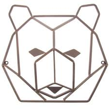 rust geometric bear head metal wall decor