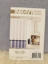 INK+IVY Hudson Chambray White Color Block Shower Curtain 72 X 72 in for  sale online
