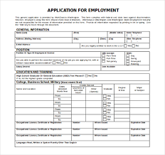 Free Employment Application Template Word Employment Application
