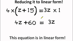 maths how to reduce an equation to linear form and solve it english