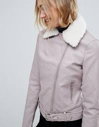 women s new look tall faux leather shearling collar biker jacket t74z5