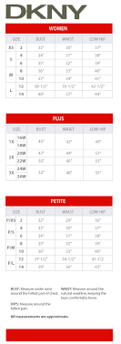 Dkny Size Chart Dkny Women Regular Plus And Petite Size Charts Via Macys