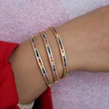 2019 new design gold color rainbow <b>cz</b> bangle ring set for women ...