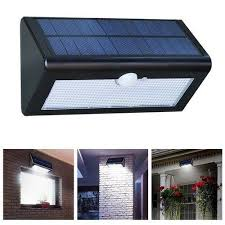 solar power pir motion sensor wall light outdoor waterproof garden lamp