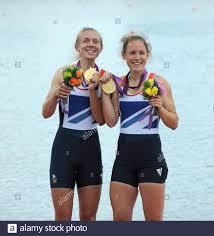 Eton Dorney, Windsor, Great Britain, 2012 London Olympic Regatta, Dorney  Lake. Eton Rowing Centre, Berkshire. Dorney Lake. GBR LW 2X Gold Medalist,  Bow. Kat COPELAND and Sophie HOSKING 12:38:34 Saturday 04/08/2012 [Mandatory