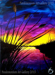 sunset and cattails step by step painting on canvas for beginners you
