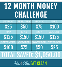 12 month 12 month money challenge he and she eat clean frugal lifestyle save money jpg