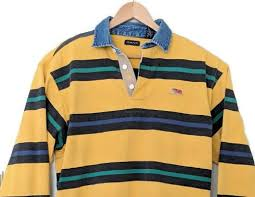details about gant men s large polo rugby shirt denim collar cotton yellow green blue striped