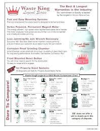 Garbage Disposal Comparison Chart Waste King Disposals Conieadiviagensnews Info