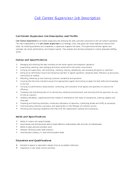 Call Center Supervisor Job Description Call Center Customer Servicee Job Description For Resume Template 1